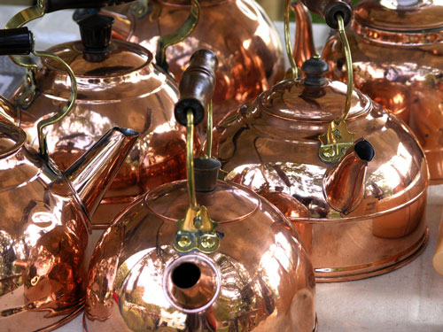 shiny copper kettles