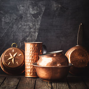 hammered copper cookware