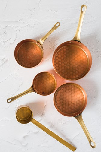vintage copper cooking and measuring utensils